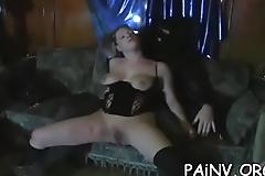 Extreme bondage session with some teat punishment scenes