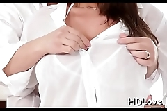 Pretty sweetheart makes his cock wet then rides him non stop