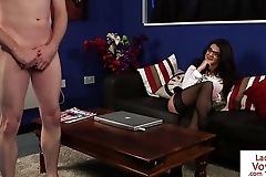 Spex domina babe humiliates naked sub