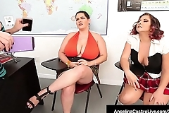 BBW Angelina Castro Strap On Fucks Gia Love'_s Tight Pussy!