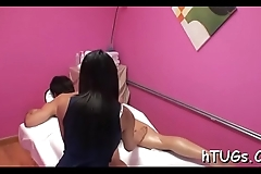 Client gets special massage by an breathtaking oriental chick