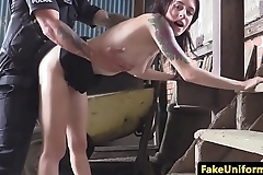 Skinny British babe pov doggystyled by cop