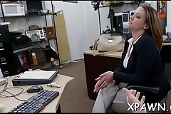 Juvenile woman shows us how she has some sex in shop room
