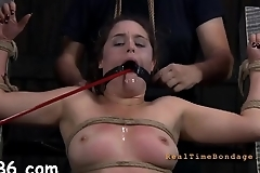 Beautiful babe'_s sweet nipps receives painful torturing