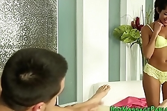 Hot latina masseuse blows