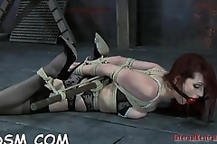 Fastened up chick'_s hot twat is being tortured viciously