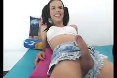 TS cutie playing with thick cock - TScamdolls.com