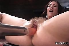 Hairy squirting pussy babe fucks machine