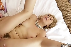Petite blonde babe pounded in her ass