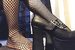 Goth Girl Shows off her New Platform Heels