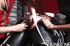 Slave gets his booty fisted and dick pumped by nasty mistress