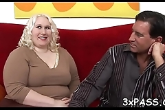 Busty bbw bitch screwed in all of her holes by chocolate ramrod