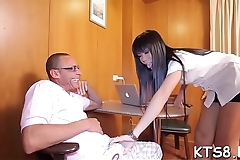 Kinky ladyboy bounces on cock with her ass and jerks off cock
