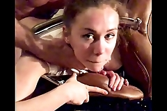 Teen is clamped inside office chair and gets her ass fucked hard