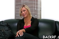 Beauty blows and rides weenie at a casting to become a model