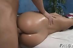 Sexy babe sucking off deep her massage therapist