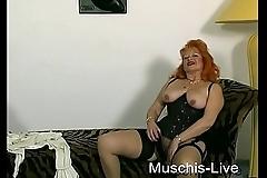 Old granny masturbate in front of Camera