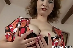 Engulfing and shoveling hard dildo down her pussy thrills babe