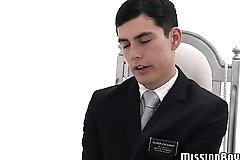 Twinkie enjoys handjob session from his mature Mormon elder