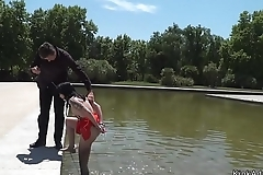 Slave in red dress humiliated in public