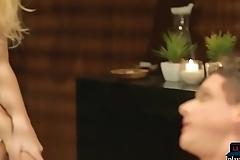 Voyeur boyfriend watches his girlfriend massage a MILF