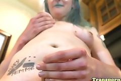 Chubby trans tugs on her cock in closeup