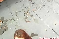Real eurobabe sucks cock on spycam