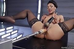 Small tits ebony fucking machine