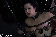 Bounded girl waits for her brutal torment