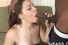 White girlie performs great fellatio to her black boyfriend