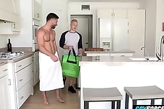 GayForced.com - Pervy Daddy Fucks Delivery Young Guy