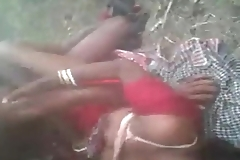 Horny Desi south indian village cheating girl hard fucked threesome jungle by in outdoor fucking sound clear audio