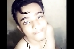 Cute desi boy bathing showing his body and dick