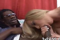 Pretty black dude is satisfying desires of cute white hottie