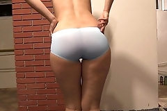 My juicy ass looks sexy in any panties, the girl dresses up her panties.