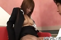 Cute asian hottie gets toys to anal group-sex her holes