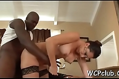 White doxy is fond of getting chocolate cocks in her holes