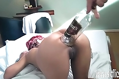 XXL anal whiskey bottle fuck and fisting