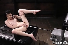 Hairy pussy brunette fucks machine