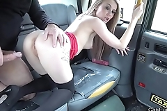 Blonde masturbates and fucks in fake taxi