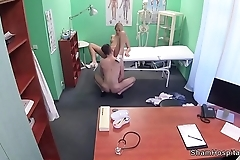 Blonde nurse licked and fucked in office