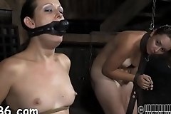 Gagged girl with clamped nipps gets wild pleasure