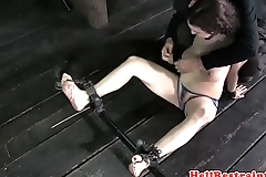 Busty bdsm slave feet punished with hot wax